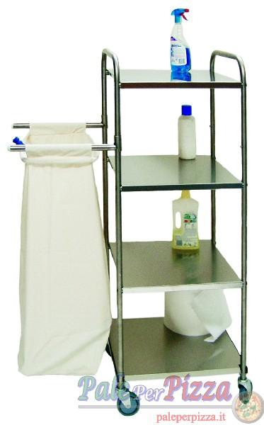 Carrello portabiancheria, struttura inox 1 sacco + 4 piani-0