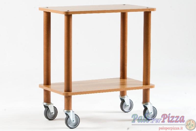 Carrello Asso, struttura legno massello, 2 piani bilaminato 18 mm