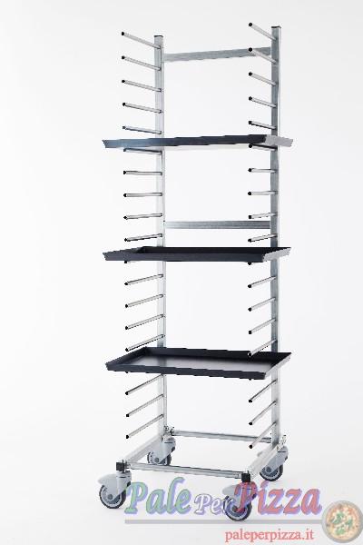 Carrello portateglie inox, 15 teglie, distanza piani 10 cm
