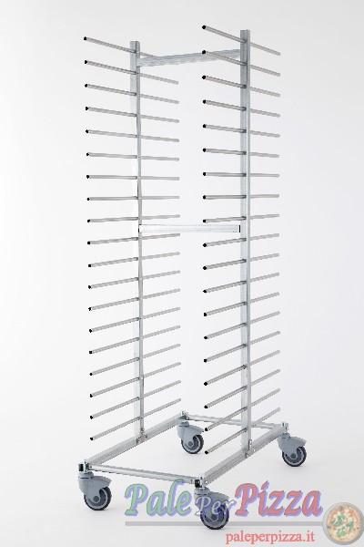 Carrello portateglie inox, doppio, 40 teglie, distanza piani 10 cm,