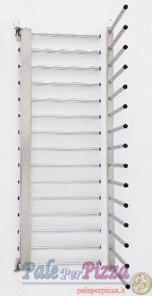 Portateglie inox a muro, 15 posti, distanza tra i piani 8 cm-0