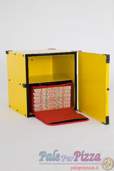 Box pizza coibentato con ripiano per 2 borse termiche 50 cm