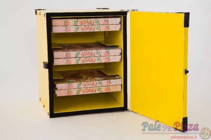 Box pizza coibentato con guide per 12 cartoni 33 cm