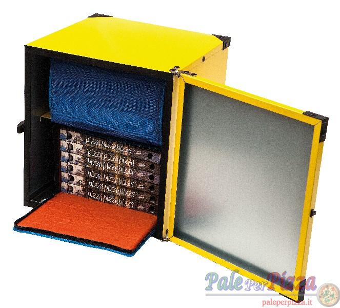 Box pizza non coibentato, ripiano centrale per 2 borse termiche 40x60 cm