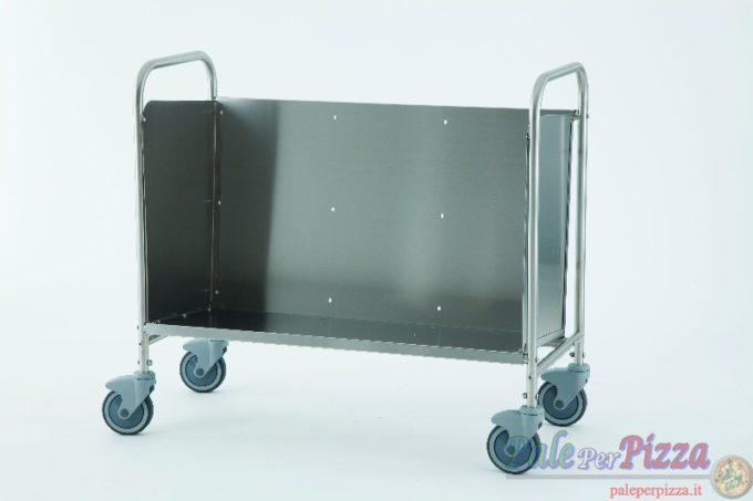 Carrello portapiatti/vassoi in acciaio inox , ruote 125 mm