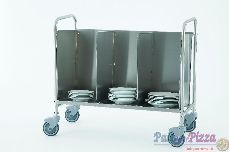 Carrello portapiatti/vassoi in acciaio inox con 2 pareti divisorie
