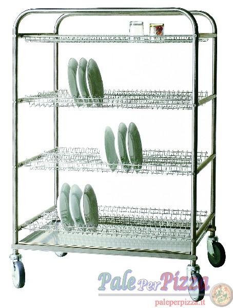Carrello scolapiatti in acciaio inox, 186 piatti + 2 griglie bicchieri