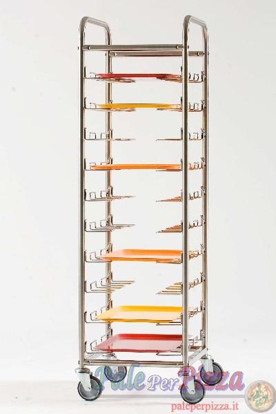 Carrello ritiro vassoi strutt. inox, supporti in filetto acciaio cromato. 10 posti.