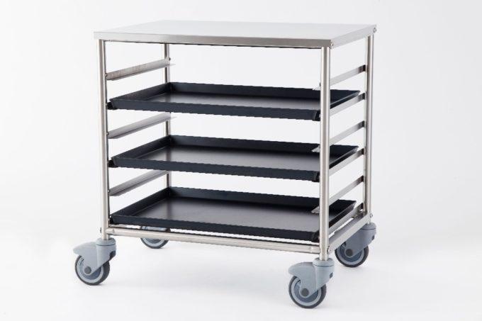 Carrello in acciaio inox porta 6 teglie 60x40 guide rivettate